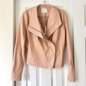 NWT a new day blush faux leather moto jacket M
